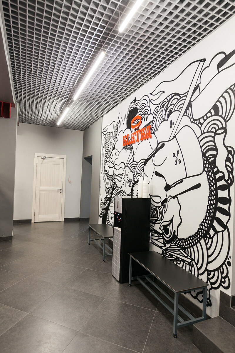 Граффити оформление спортивного клуба «KLETKA»