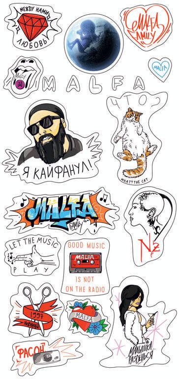 Создание рекламных стикеров для студии Malfa
