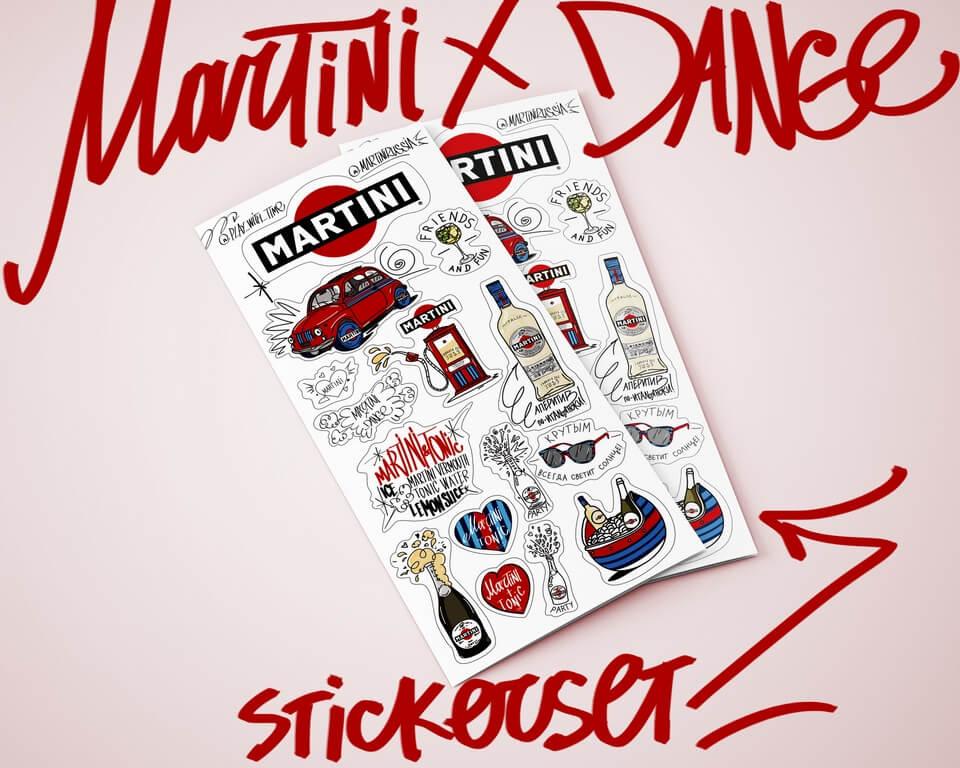 Создание рекламных стикеров для Martini