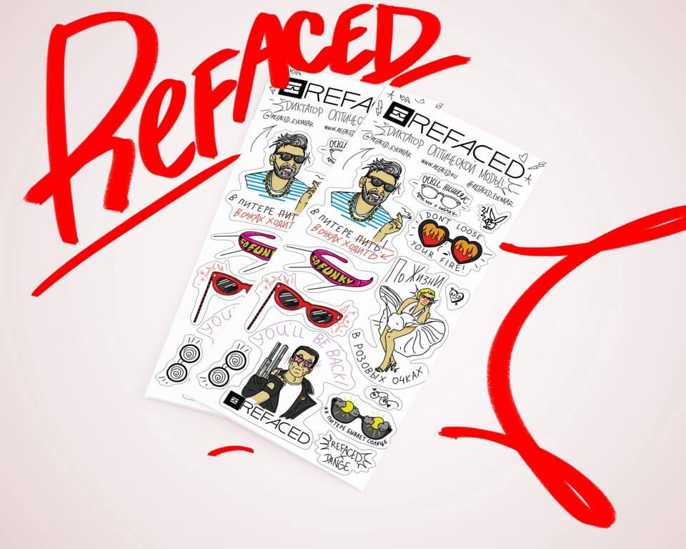 Создание рекламных стикеров для Refaced Eyewear