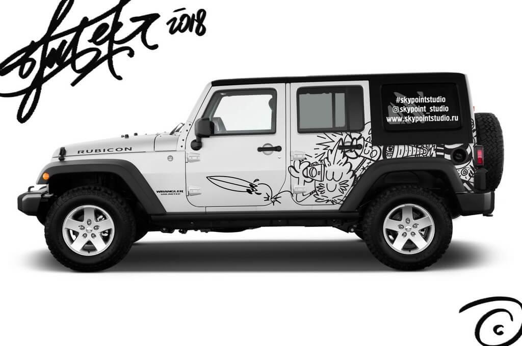 Создание эскиза рекламного авто для Skypoint